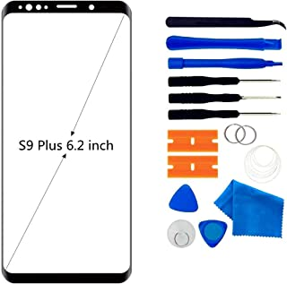 Front Glass Repair Kit Compatible with Samsung Galaxy S9 Plus G965 Display Touchscreen incl. Tool Kit(Samsung Galaxy S9 6.2 inch Black)