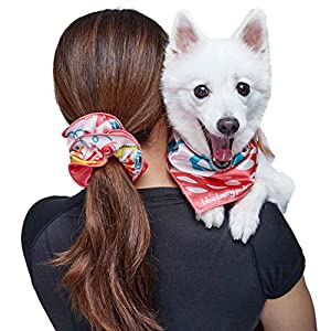 Blueberry Pet x SPCAI New Special Edition Charity Compassion Set – 1 Round Hair Scrunchie, 1 Bow Scrunchie, 1 Bandana for Dog or Owner