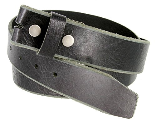 Genuine One Piece Full Grain Vintage Buffalo Leather Belt Strap (36, Black)