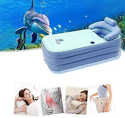Inflatable Adult Bath Tub,Free-Standing Blow Up Bathtub with Foldable Portable Feature,High-Density PVC Hot Tub for Bathroom Spa,Blow Up Air Bath Tub w/Cushion (blue)