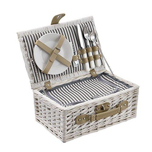 casa.pro Picknickkorb für 2 Personen Picknick-Set mit Kühltasche inkl. Geschirr Besteck Korkenzieher und Gläser Weiß