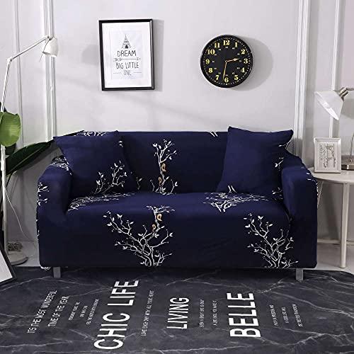 HTEZGDB - Universele bankhoes Stretch Sofa Cover Sofa Arm Protector Covers, Zacht en Comfortabel Bescherm de Bank (2-zits 145-185cm, takken, donkerblauw)
