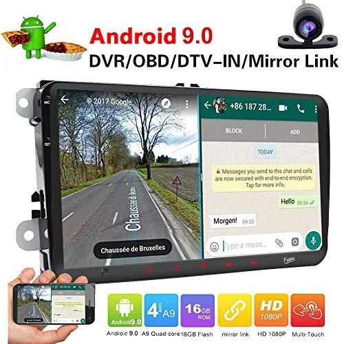 Android 9.0 Radio de coche de 9 pulgadas pantalla táctil capacitiva HD GPS navegación Bluetooth USB DSP DAB+ OBD2 ROM 2G RAM 16G para VW Passat Golf MK5 MK6 Jetta T5 EOS Polo Touran Seat Sharan