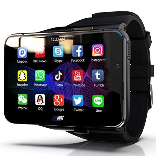 HJKPM MAX Smartwatch, Reloj Inteligente De Alta Configuración con Pantalla Grande 4G + 64G De 2,88 Pulgadas Correa Desmontable Soporte Bluetooth GPS WiFi,Negro