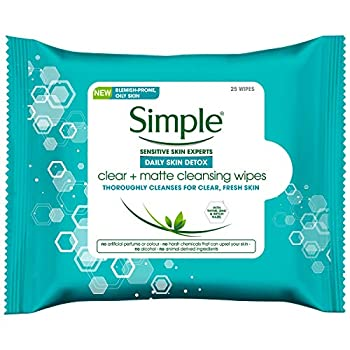 Simple Daily Skin Detox Clear & Matte Cleansing Wipes Clear + Matte 25 Pieces  Pack of 6 150 Wipes total