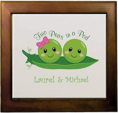 Personalized Custom Text Inspiration Two Peas in a Pod Ceramic Tile in Wood Frame