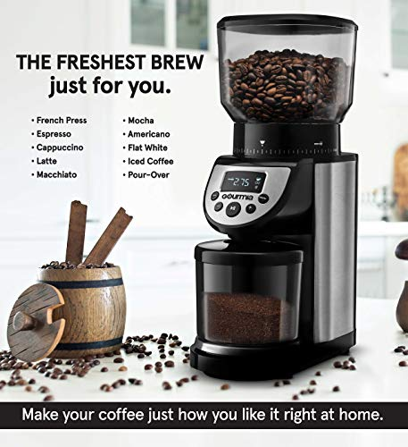Gourmia GCG205 14-Ounce Automatic 4-Mode Digital Conical Burr Grinder with 39 Adjustable Grind Sizes and Built-In Scale