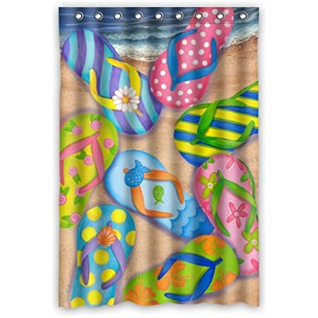 Carnation PHP Flip Flops Resin Shower Curtain Hooks Multicolor