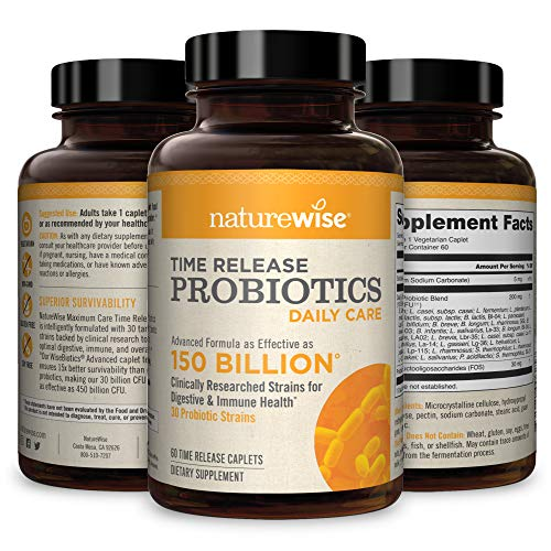 NatureWise Daily Probiotics for Women and Men | Time-Release, Comparable to 150 Billion CFU | Delivers 15x More Live Cultures to Intestines for Digestion & Immune Support [2 Month Supply - 60 Caplets]