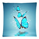 Funda de Almohada Decorativa Cuadrada con Reflejo de Agua de Mariposa Azul, Funda de cojín Suave con Cremallera Personalizada Personalizada para sofá (Lados Gemelos)