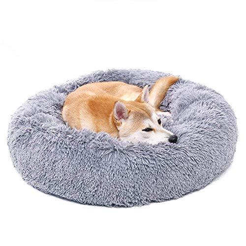 Auoker Marshmallow Kat Bed, Kalmerend huisdier hond bed, knuffel Puff kussen voor grote middelgrote kleine honden Puppy Kitty Kitten, Grey L