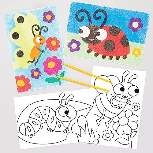Baker Ross Kever zandkunst schilderijen knutselset voor kinderen (8 stuks) creatieve sets om te knutselen, decoreren en…