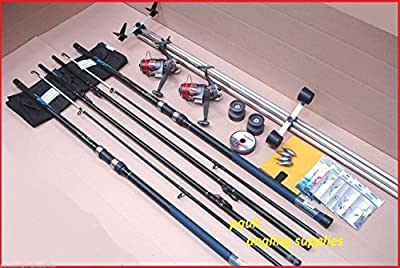 Shakespeare Sea Fishing 13 ft Kit 2 Rods 2 Reels Tripod & Tackle Beach , Beachcaster Beachcasting by Shakespeare / Lineaeffe