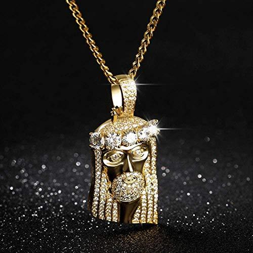 huangshuhua Collar con Colgante de Cruz de Bala para Hombres en Collares de Cruz de Acero Inoxidable para Hombres en Tono Dorado Amuleto de la Suerte Joyería Masculina con 24 Pulgadas