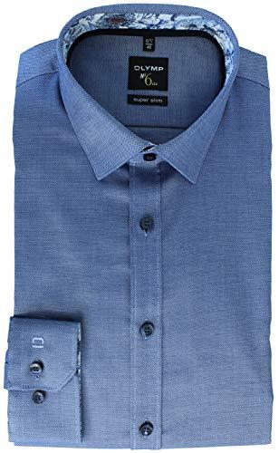 OLYMP No. Six super Slim Hemd extra Langer Arm Struktur blau Größe 42