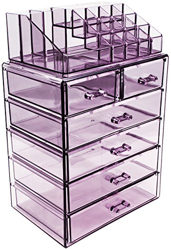 Sorbus Cosmetic Makeup and Jewelry Storage Case Display - Spacious Design - Great for Bathroom, Dresser, Vanity and Countertop (4 Large, 2 Small Drawers, Purple)