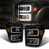 For F-Series SuperDuty Pickup Truck Black Smoked Dual LED Tube Projector Headlights Replacement