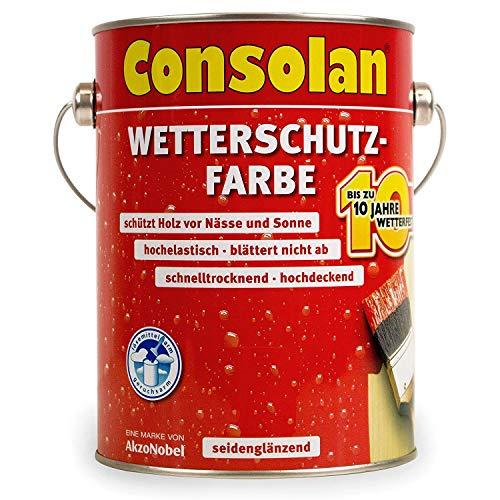 Consolan 4000729001032 Dunkelbraun Wetterschutzfarbe für Holz, Braun, 2,5 Liter