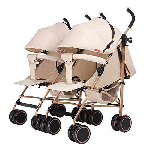 Poussetter Yhz@ Baby, Twin Trolley détachable, Pliage léger Peut s'asseoir et Se Coucher bébé Panier Portable Enfant Amortisseur Buggy Buggy (Couleur : Kaki)