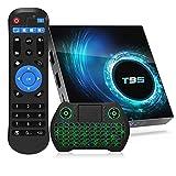 2021 Android 10.0 TV Box T95 4GB RAM 128GB ROM Allwinner H616 Quad-core ARM cortex-A53 CPU, 3D 4K 6K UHD Output H.265 2.4G/5G WIFI 100M Bluetooth Smart TV Box with 2.4G Backlit Mini Wireless Keyboard