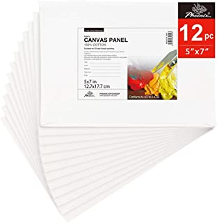 PHOENIX Painting Canvas Panel Boards - 5x7 Inch / 12 Pack - 1/8 Inch Deep Super Value Pack for Oil & Acrylic Paint