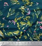 Soimoi Blau Seide Stoff Blätter, Blumen & leafbird Vogel
