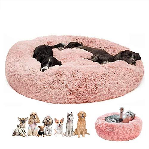 Haustierbett plüsch waschbar, Rund Hundebett tierbett, Katzenbett Hundesofa tragbare warme, für kleine und mittelgroße Hunde und Katzen - Rosa Ø 80cm