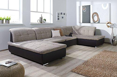 ARBD Wohnlandschaft Farus, Couchgarnitur XXL Sofa, U-Form, braun/Cappuccino, Ottomane rechts