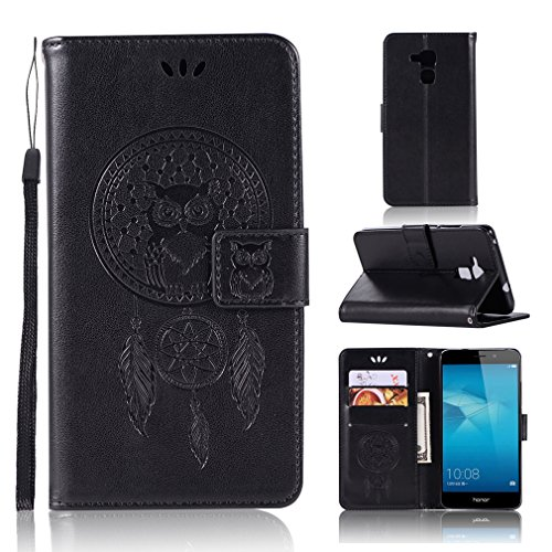 LMAZWUFULM Hülle für Honor 5C / Huawei 7 Lite/Huawei GT3 (5,2 Zoll) PU Leder Magnetverschluss Brieftasche Lederhülle Eule & Traumfänger Muster Standfunktion Ledertasche Flip Cover Schwarz