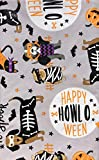 Mainstream Halloween Happy Howl O Ween Too Cute to Spook Cats & Dogs in Costumes Vinyl Flannel Back Tablecloth (52 x 90 Oblong)