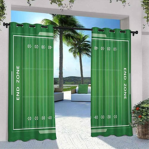 your zone home patio curtains Football Outdoor Patio Curtains, Field of The Game Strategy Tactics End Zone Touchdown Sports Competition Theme, Heat Insulation, Shading and Waterproof, W108 x L108 Inch Green White