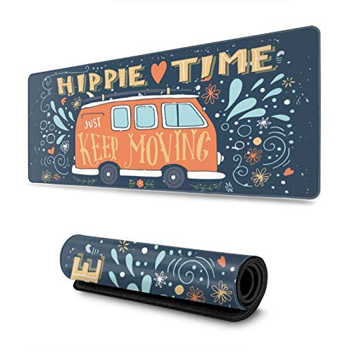 Happy Camping Hippie Style Gaming Mouse Pad, Long Extended XL Mousepad Desk Pad, Large Non-Slip Rubber Mice Pads Stitched Edges, 31.5'' X 11.8''