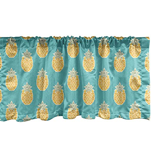 """Lunarable Fruits Window Valance, Pineapples Caribbean Tropical Hipster Organic Exotic Jungle Kitchen Print, Curtain Valance for Kitchen Bedroom Decor with Rod Pocket, 54"""" X 12"""", Turquoise Mustard"""