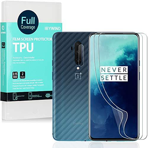 Ibywind Schutzfolie für OnePlus 7 Pro/OnePlus 7T Pro[ 2 Stück ],[Kamera Schutzfolie][Carbon Fiber Folie für die Rückseite][Fingerabdruck kompatibel][Blasenfrei]