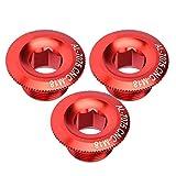 Alomejor Pernos de manivela de Bicicleta Tapa de manivela de aleación de Aluminio Tapa de manivela de Bicicleta Juego de bielas de Bicicleta Tapa de Tornillo 3 Piezas 18 mm(Red)