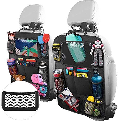 JoGoi Auto Opslagruimte Organisator Stoel Tidy Protector Kick Mats voor Kinderen Multi-pockets met Houder met Opslagret 2Pack+1Wet