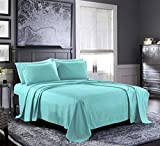 Bed Sheets - Queen Sheet Set [6-Piece, Aqua] - Hotel Luxury 1800 Brushed Microfiber - Soft and Breathable - Deep Pocket Fitted Sheet, Flat Sheet, Pillow Cases