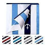 CABANANA Plush Oversized Beach Towel - Cotton Fluffy 35 x 70 Inch Anchor Striped Pool Towel, Large Cabana Summer Swimming Towel (Blue)