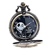 Steampunk Antique The Nightmare Before Christmas Mens Womens Quartz Pocket Watch Necklace Chain Gifts for Xmas