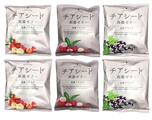 チアシード蒟蒻ゼリー 発酵プラス 3種セット 計6個セット (カムカム味 カシス味 ライチ味) 各1袋10個入り