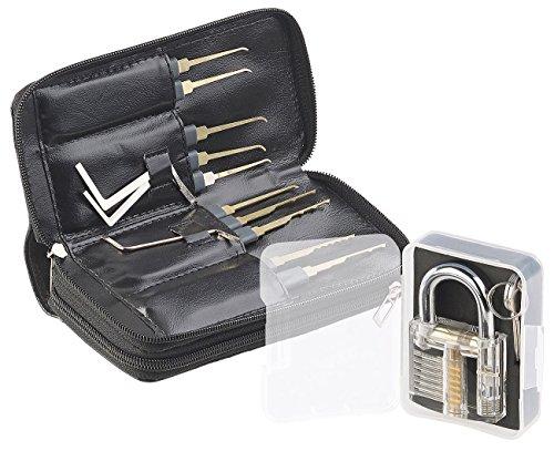 AGT Lockpick: Profi-Lockpicking-Set mit 30-teiliger Dietrich-Tasche & Übungs-Schloss (Schlossknacker Set)