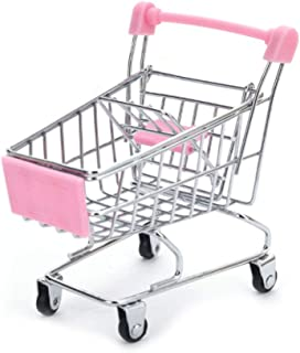 VONGEE ミニスーパーマーケットハンドトロリーショッピングユーティリティカート収納バスケットふりキッズ-ピンク