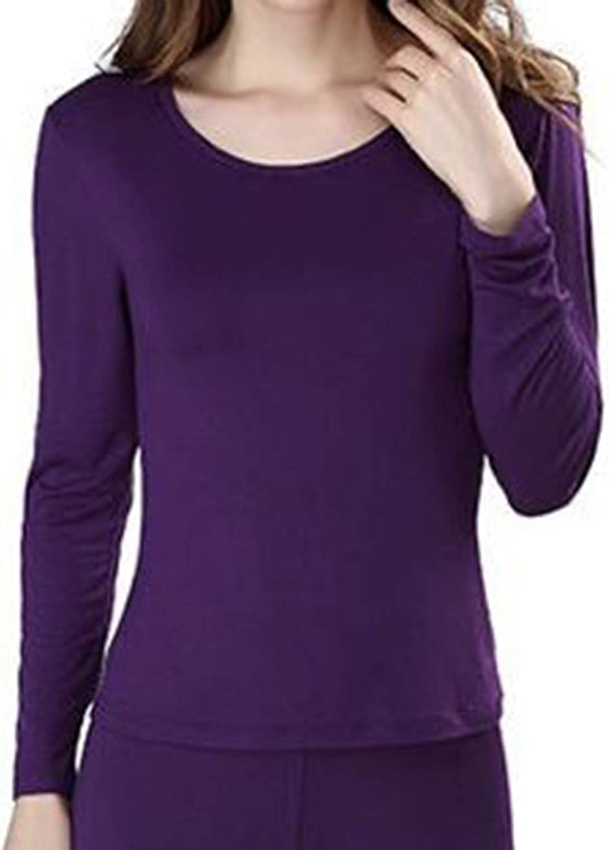 Mulaza Womens Thermal Top Underwear Ultrathin Long Sleeve Shirt Base Layer Undershirt Purple