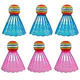 Yooyg 6 lanzadores de bádminton, bolas de bádminton LED, bádminton, colorido volante para deportes al aire libre en interiores