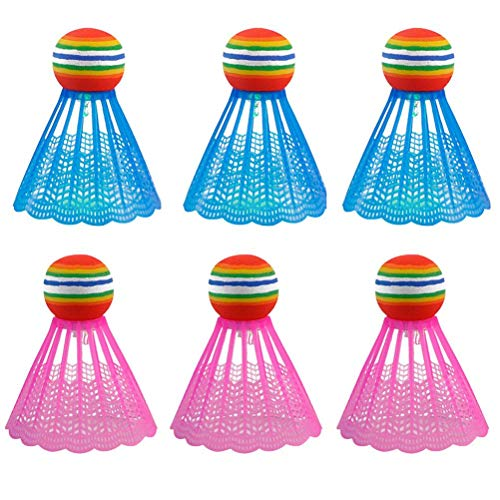QUMocky - Palline da badminton ad alta velocità, a LED, per attività sportive, per interni ed esterni, 6 pezzi