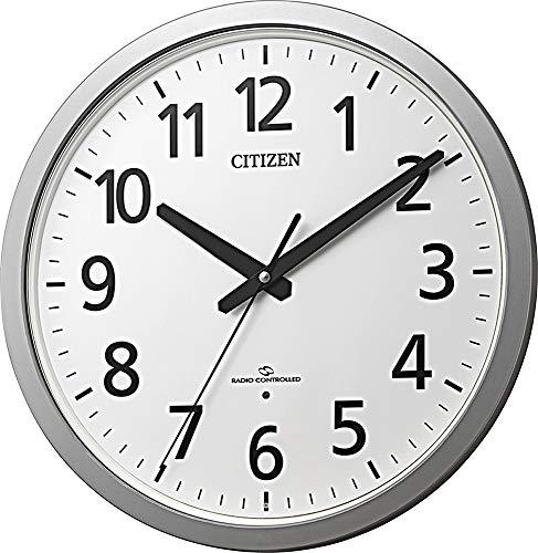 リズム(RHYTHM) 掛け時計 銀色 Φ38x5cm 電波 アナログ 高感度受信 オフィス 静かな秒針 シチズン 4MY855-019
