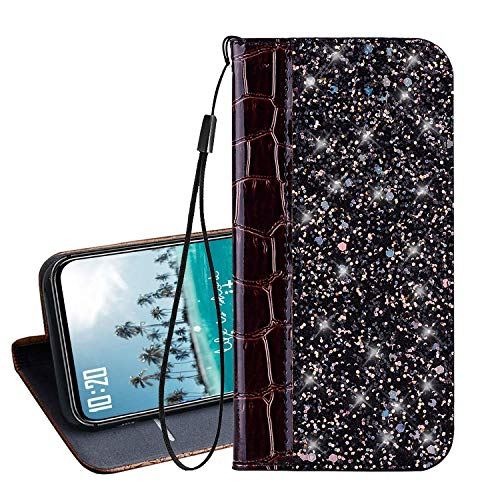 Vodafone Smart E8 Hülle Hochwertige Glitzer Krokodilhaut PU Leder Flip Hülle Wallet Ledertasche,Magnetverschluss Handyhülle Seitlich Klappbares Schutzhülle Etui Tasche mit Brieftasche/Kartenfach(Brown)