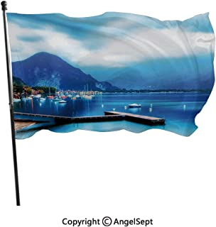 AngelSept Fashion UV Protected Polyester Flags,Italian Village with Harbor and Sail Boats Magical Countryside Rural Photo Blue,3x5 ft,Durable & Fade Resistant for Outside All Weather