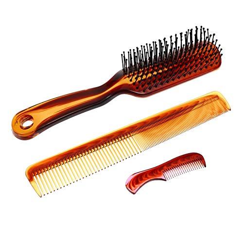 FRCOLOR 3Pcs Hair Styling Combs Pentes de Corte De Cabelo Dentes Finos Homens Barba Cabeça Almofada de Ar Massagem Pentes Salão de Pentes Escovas Marrom