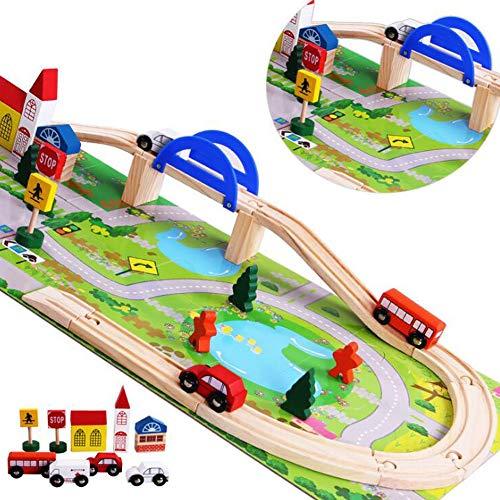 Juguete Pista Madera Juguete con Coches y Pista de Madera Bloques de Construcción Juguetes Tren Pistas para Educativos Regalo Niños Niñas 3 4 5 6 7 8 Años